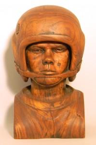 John Football Bust - Wood Sculpture